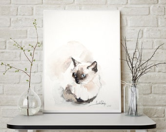 Siamese Cat Painting, Original Watercolor Painting, Cat Painting, Cat Watercolor, Cat Art, Minimalist Cat Painting, Wall Art