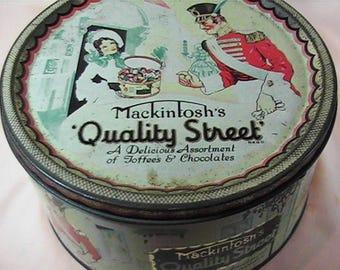 Vintage Mackintosh's Quality Street Toffee & Chocolates Tin Box, Tin Container, Round Tin Box, Candy Box,  Made in England