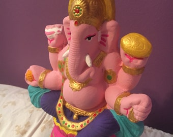 Hand-painted Clay Ganesh Sculpture