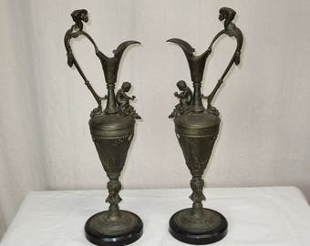 Antique Pair of French  Spelter Ewers