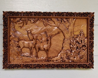 Personalized Wood Wall Art elk wood carving rustic cabin decor elk wood elk wall