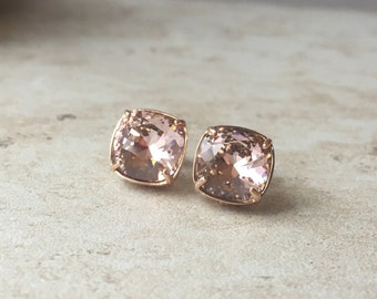 Crystals from SWAROVSKI® - Vintage Rose - Blush Rose - 10 mm Square Studs on Sterling Silver Posts - Rose Gold Earrings - Bridal Jewelry -