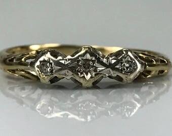 Vintage Diamond Wedding Band. 9K Gold. April Birthstone. 10th Anniversary Gift. Estate Jewelry. Diamond Stacking Ring. Gold Band.