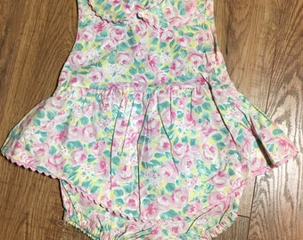 "Vintage Baby Girl Romper, ""Cuties By Judy"" summer pink romper, 6-9 months floral one piece outfit"