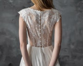 Ivory lace and chiffon wedding dress, silk dress with ivory lace appliques, cup sleeve bridal gown, modern wedding dress // Iris