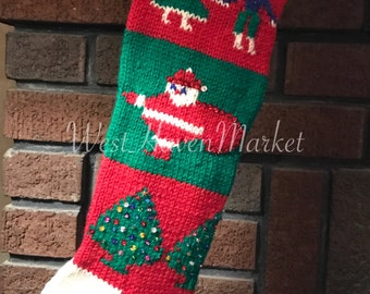 Kit for Vintage Personalized 1945 Christmas Stocking with 100% PURE WOOL w/ free pattern
