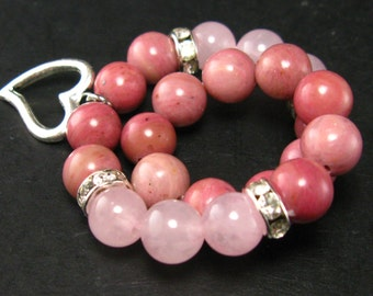 Rhodonite and Rose Quartz Bracelet - 8mm