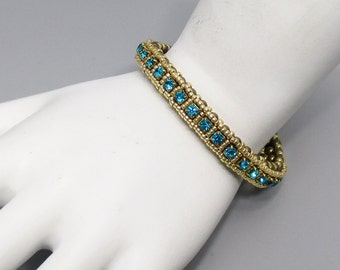 Tennis Bracelet, with Green Crystals, Pearls, and Gold Finish Glass Beads, Faux Bangle
