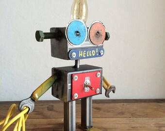 Lamp ROBOT//Blackboard//HELLO//handmade//industrial design//EDISON bulb