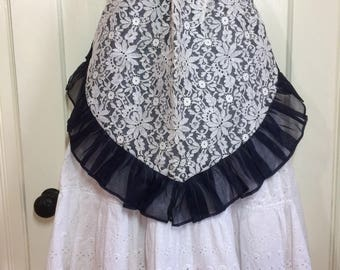 deadstock short half apron sheer navy blue with white floral lace ruffles 2 pockets French maid design bowtie belt NOS #6
