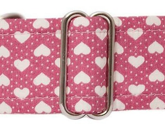 "Noddy & Sweets Adjustable Martingale Collar [1"", 1.5"", 2"" Pink Hearts]"