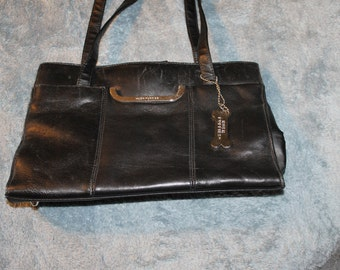 Vintage Hush Puppies Handbag, or Purse, w Two Handles, Genuine Leather, Medium Size, Great Vintage Shape, For Everyday Use, Black Color