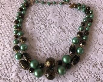 Turquoise, Gold, Black Beaded Choker