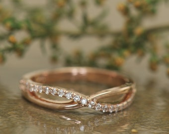 Alexis - Diamond Wedding Band in Rose Gold, Round Brilliant Cut, Criss-Cross Design, Prong Set Diamond, Stackable, X Style, Free Shipping
