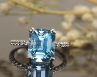 4.25ct Emerald Cut Blue Topaz & Diamond Engagement Ring in 14k White Gold, 10x8mm Topaz, 1.8mm Band, 0.18ctw E-F Color VS Clarity, Nyla BT