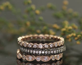 Diamond Eternity Band Stacking Set, Pear and Bubble Lucy Ring, Bubble Cadence Ring, 3-Sided Pave Mary B Ring, Julia B Set