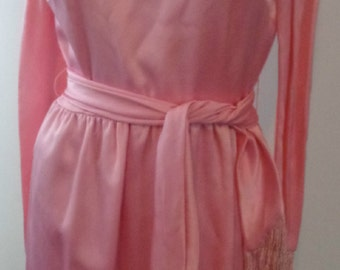 HALF PRICE:Vintage Hot Pink Mini Dress Funky Retro Dress Pink Dress Mini Short Dress with fringes on arms and belt