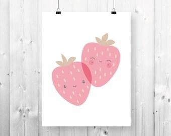 Smiling pink strawberry print - 8 1/2'' x 11 '' - PDF Download