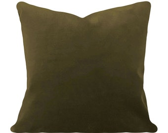 Olive Green Velvet Decorative Pillow Cover - Throw Pillow - Both Sides - 12x16, 12x20, 14x18, 14x24, 16x16, 18x18, 20x20, 22x22, 24x24