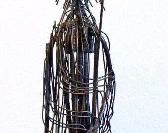 Mid Century Modern Brutalist Iron Tribal Figure with Staff Table Sculpture