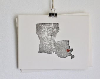 Louisiana State Notecard / Louisiana SVG / New Orleans / Moving to Louisiana / Thank You Cards Wedding Gift Gift for Her / Anniversary Gift