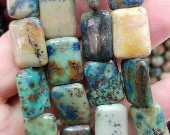 Rectangle Chrysocolla beads, 13x18 mm  gemstone beads, semiprecious stones, jewelry design, wholesale beads B1800