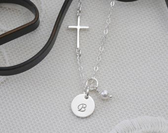 Sterling Silver Cross Initial Necklace, First Communion Necklace, Confirmation Gifts, Sideways Cross Initial Necklace, Personalized, Dainty