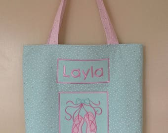 Personalised ballet tote- dancing shoes, mint background