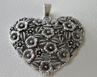 1 pcs a pkg - 66x61 mm Extra large Flower  Filigree Heart  Digital Antique silver  Lead Free Pewter