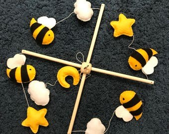 Bees mobile for crib, baby mobile, montessori mobile, flying mobile, insects mobile