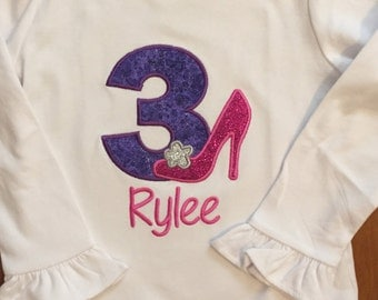 Pink, Purple, and Silver High Heel Diva Birthday Shirt or Baby Bodysuit