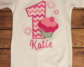 Shades of Pink Birthday Cupcake Embroidered Shirt or Baby Bodysuit