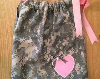 Army ACU Pillow Case Dress With Pink Accents