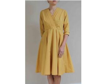1980s does 50s dress 40s 50s style cotton dress mustard dress yellow dress day dress summer dress swing dress size 12 dress 80s swing dress