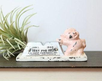 Pig Paperweight, Vintage Pink Pig, Figurine, Statue, Home Office Desk Decor, Piggy, Gifts, First Pig Iron Kaiser Company INC  Jan 1. 1943