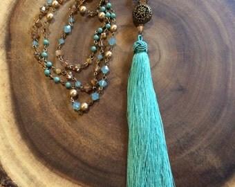Swarovski Crystal, Pearl and Silk Tassel Necklace