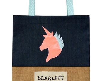 Personalised Kids Library Bag- Unicorn