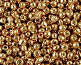 50g Glass Seed Beads - Size 6/0 - Approx 4mm - Jewellery Making - Rocailles - Gold Metallic - Seed Beads - GSB64