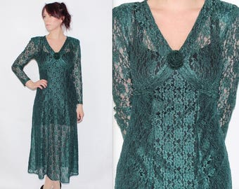 Vintage 1990's Green FLORAL LACE See Through Long Sleeves Rose Pretty MAXI Dress Size 8