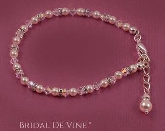 Bridal Pearl Diamante and Crystal Delicate Small Bead Bracelet Bridesmaids