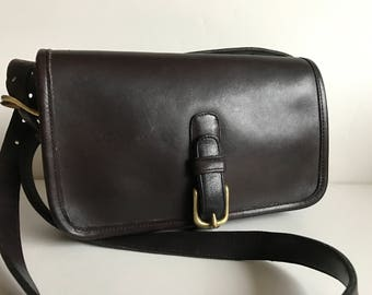 Vintage Coach Cashin Era Rare Small  Messenger Saddle Pouch Mocha Brown Leather