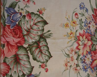 Fantastic Vintage Floral Fabric/Valance 50's Cotton