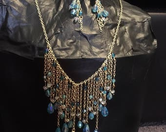 Waterfall necklace  and earrings set.