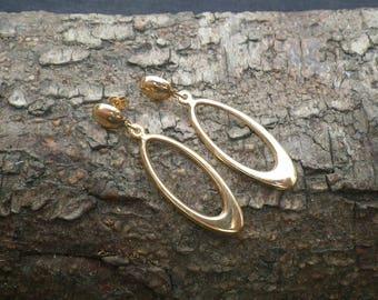 9ct Yellow Gold Creole Long Hoop Drop Earrings