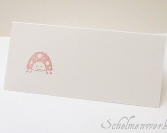 Place card with stamped ladybugs (6 PCs)