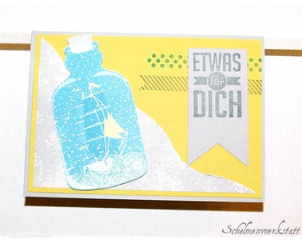 Greeting card in a bottle