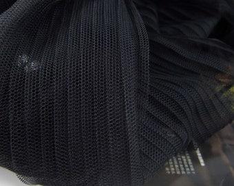 "Lace Fabric Black White Fold Ruffled Tulle Wedding Fabric 61"" width 1 yard"