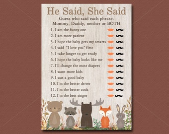 Woodland Baby Shower game He Said She Said, Printable, Woodland Baby Shower game, Mommy or Daddy Game, Forest Animals Instant Download 016