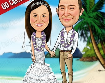 2 Persons Custom Caricature with Background (style#01)