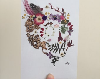 "Pressed Flower ""Frida Kahlo"" Sugar Skull Mini Print Blank Greeting Card"